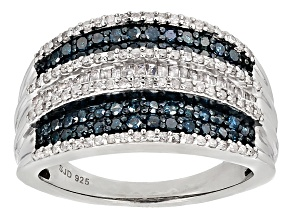 White And Blue Diamond Rhodium Over Sterling Silver Ring .95ctw