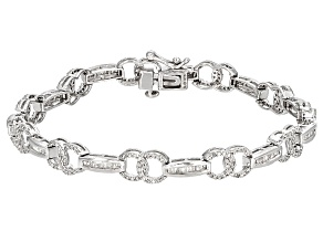 White Diamond Rhodium Over Sterling Silver Bracelet 1.75ctw