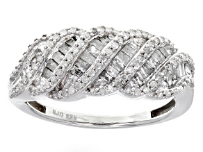 White Diamond Rhodium Over Sterling Silver Ring .70ctw