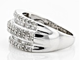 White Diamond Rhodium Over Sterling Silver Ring 1.05ctw