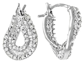 White Diamond Rhodium Over Sterling Silver Earrings .95ctw