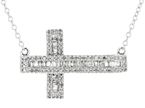White Diamond 10k White Gold Necklace .45ctw