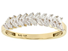 White Diamond 10k Yellow Gold Ring .30ctw