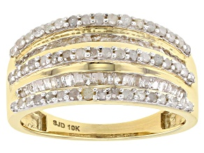 White Diamond 10k Yellow Gold Ring .95ctw