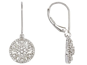White Diamond 10k White Gold Earrings .75ctw