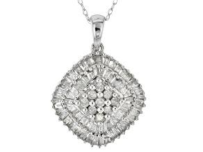 white diamond 10k white gold pendant 1.00ctw