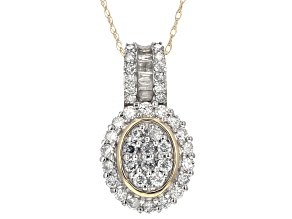 White Diamond 10k Yellow Gold Pendant .75ctw