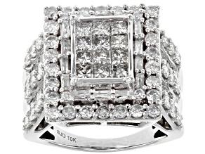 White Diamond 10k White Gold Ring 2.90ctw