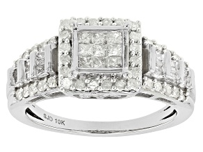 White Diamond 10k White Gold Ring .70ctw