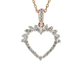 White Diamond 14k Rose Gold over Sterling Silver Pendant .60ctw