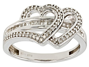 White Diamond Rhodium over Sterling Silver Promise Ring .40ctw