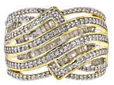White Diamond 14k Yellow Gold over Sterling Silver Ring 1.10ctw