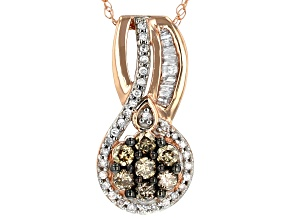Champagne and White Diamond 10k Rose Gold Pendant .40ctw