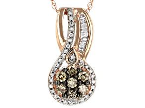 Champagne and White Diamond 10k Rose Gold Pendant .40ctw
