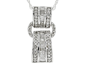 White Diamond Rhodium Over S/S Pendant With Chain 0.40ctw