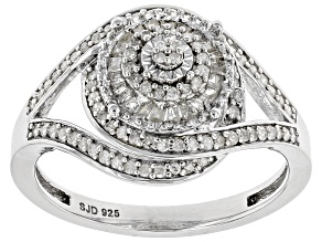White Diamond Rhodium Over S/S Ring 0.45ctw