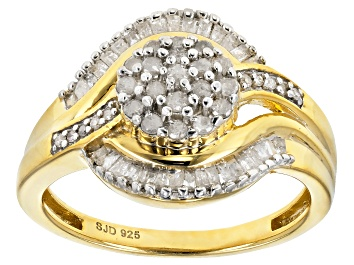 Picture of Engild™ White Diamond 14k Yellow Gold Over Sterling Silver Ring 0.55ctw