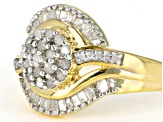 Engild™ White Diamond 14k Yellow Gold Over Sterling Silver Ring 0.55ctw