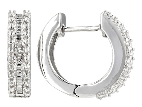White Diamond Rhodium Over Sterling Silver Earrings Diamond Accent