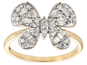 White Diamond 10k Yellow Gold Butterfly Cluster Ring 0.55ctw