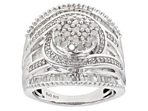 White Diamond Rhodium Over Sterling Silver Cluster Ring 1.35ctw