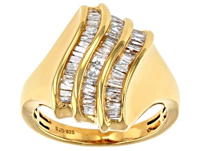 White Diamond 14k Yellow Gold Over Sterling Silver Cocktail Ring 0.60ctw