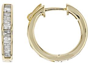 White Diamond 10k Yellow Gold Hoop Earrings 0.75ctw