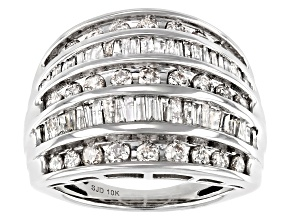 White Diamond 10k White Gold Dome Multi-Row Ring 1.85ctw