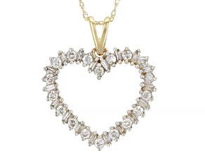 "White Diamond 10k Yellow Gold Heart Pendant With 18"" Rope Chain 0.50ctw"