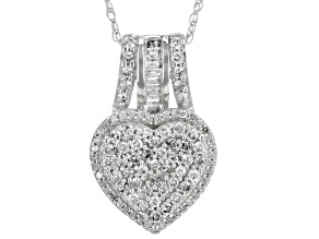 "White Diamond 10k White Gold Heart Pendant With 18"" Rope Chain 0.80ctw"
