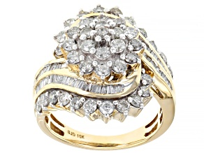 White Diamond 10k Yellow Gold Cluster Cocktail Ring 2.15ctw