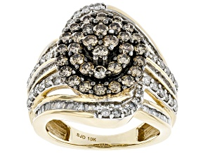 Champagne And White Diamond 10k Yellow Gold Cluster Cocktail Ring 2.00ctw