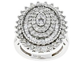 White Diamond 10k White Gold Cluster Cocktail Ring 2.00ctw