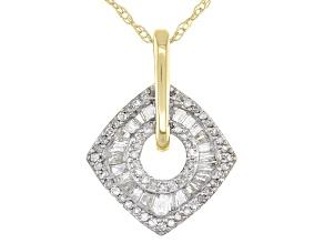 White Diamond 10k Yellow Gold Pendant With Chain 0.50ctw