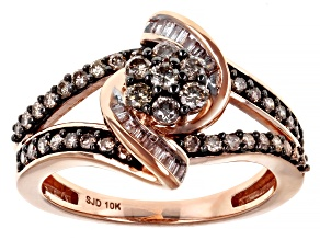 Champagne And White Diamond 10k Rose Gold Open Design Ring 0.70ctw