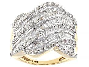 White Diamond 10k Yellow Gold Crossover Ring 1.30ctw