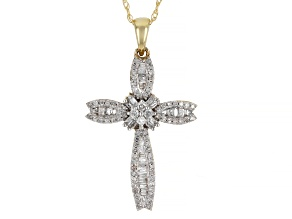 "White Diamond 10k Yellow Gold Cross Pendant With 18"" Rope Chain"