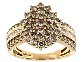 Candlelight Diamonds™ And White Diamond 10k Yellow Gold Cluster Ring 1.45ctw