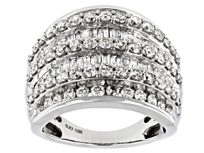 White Diamond 10k White Gold Multi-Row Dome Ring 2.85ctw