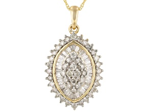 "White Diamond 14k Yellow Gold Cluster Pendant With 18"" Rope Chain 1.65ctw"