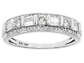 White Diamond 10k White Gold Band Ring 0.60ctw