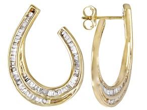 White Diamond 10k Yellow Gold Drop Earrings 1.10ctw