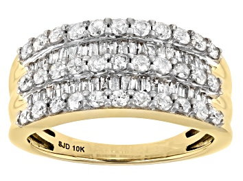 Picture of White Diamond 10k Yellow Gold Wide Band Ring 1.25ctw