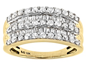 White Diamond 10k Yellow Gold Wide Band Ring 1.25ctw