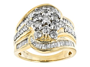 White Diamond 10k Yellow Gold Cluster Bypass Ring 1.80ctw