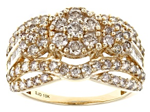 Candlelight Diamonds™ And White Diamond 10k Yellow Gold Cluster Ring 2.20ctw