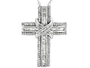 White Diamond 10k White Gold Cross Pendant With Chain 0.70ctw
