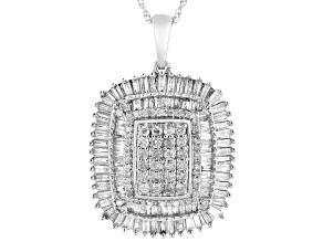 White Diamond 10k White Gold Cluster Pendant With Chain 1.60ctw