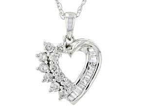 White Diamond 10k White Gold Heart Pendant With Chain 0.55ctw