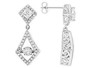 White Cubic Zirconia Rhodium Over Sterling Silver Earrings 3.00ctw